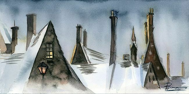 Olga Shefranov  Winter Rooftops Keilrahmen-Bild Leinwand Dächer Dorf Idylle