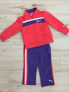 8d446969f015 PUMA Baby Girls Pink Purple Two Piece Tracksuit Outfit Size 18 ...