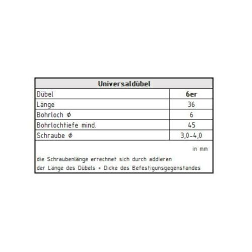 200 Profi Universaldübel Ø 6 mm m Kragen Mehrzweck Dübel Allzweckdübel grau