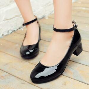 Womens-Cuban-Heel-Ankle-Strap-Patent-Mary-Jane-Lolita-Pumps-Shoes-All-US-Sz-48