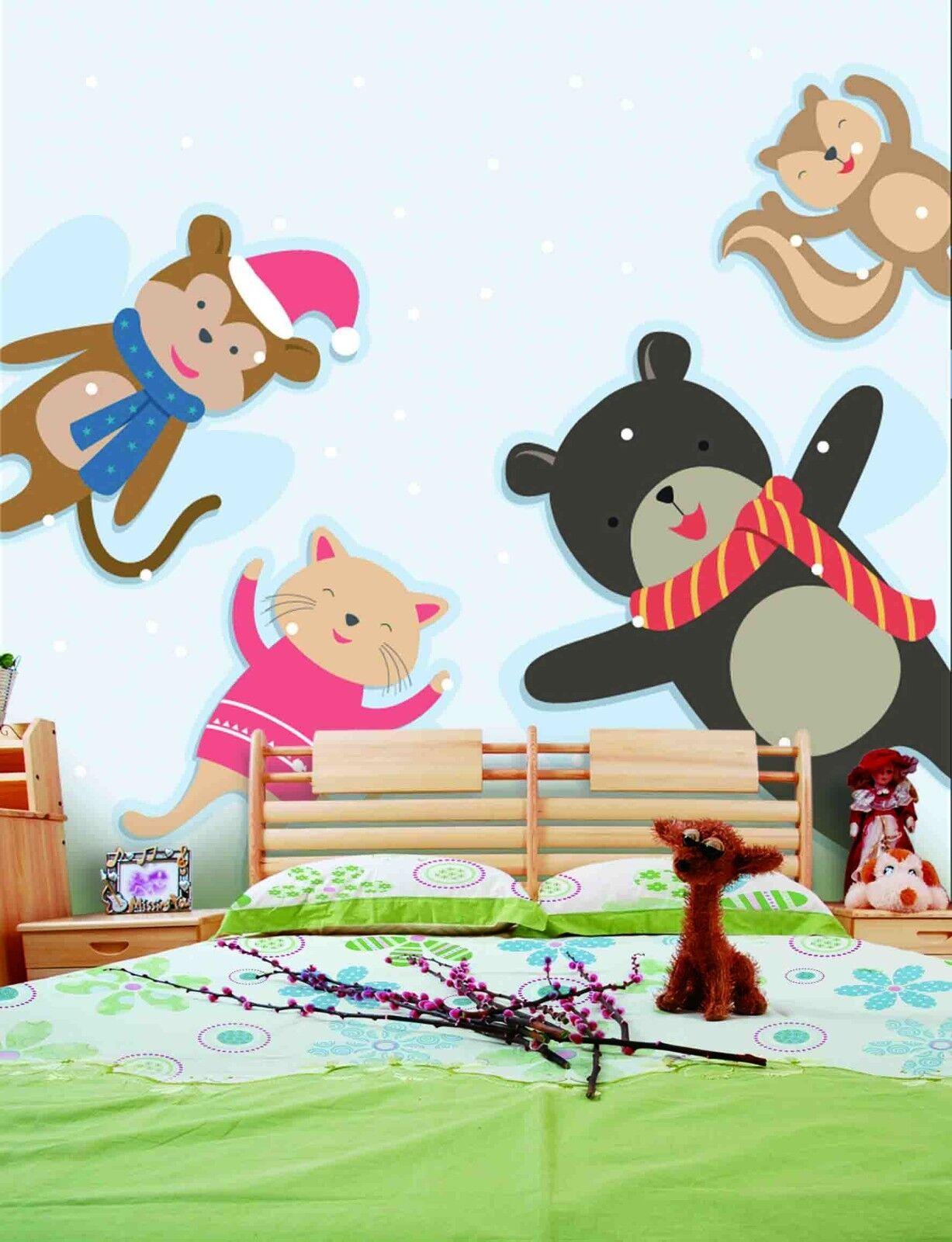 3D Cartoon Toy Animals 8 Wallpaper Mural Paper Wall Print Wallpaper Murals Lomen