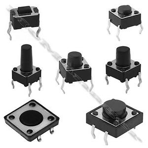 2-100pcs 4.3-12mm SPST Small Mini Micro  Momentary Tactile Push Button Switch