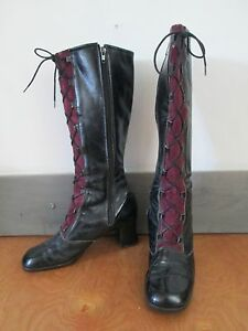 60-039-s-Victorian-Steampunk-Mod-Go-Go-Boots-Patent-Suede-40-fits-like-5-5-5
