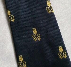 AgréAble Vintage Cravate Homme Cravate Crested Club Association Société Navy Gold-afficher Le Titre D'origine