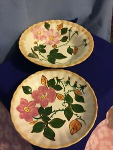 Blue-Ridge-Pottery-Pink-Flower-Vegetable-amp-Soup-Bowls-Hand-Painted