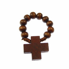 Catholic brown wood wooden rosary ring rosary beads + cross one decade