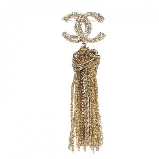 CHANEL CC logo Brooch Pin 17A Knot Tassel Fringe Large Statement Gold Runway NEW
