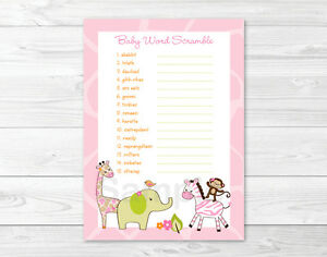 picture relating to Printable Baby Word Scramble identify Data over Safari Woman Jungle Animal Printable Kid Shower \