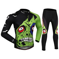 Winter Fleece Long Sleeve Cycling Jersey+pant Set Sportswear Bike Clothes Zombie