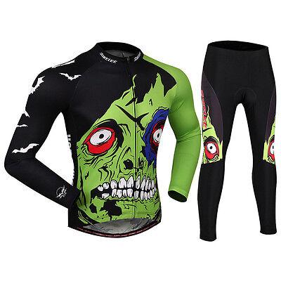 Fleece Long Sleeve Cycling Jersey Pant Sportswear Set Bike Clothes Bicycle Sport