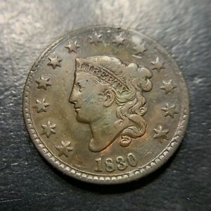 1830 N3 R3 Matron Head Large Cent VF Very Fine Middle Date Newcomb EAC Rarity 1c