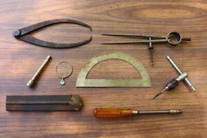 Vintage-Lot-Machinists-Tools-Estate-Find-T-Handle-Protractor-Caliper-Unusual-VQ