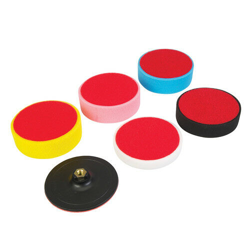 6 pieces Polishing PU Foam 150mm with base plate, soft to hard, Polishing Foam