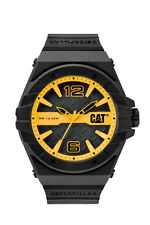 Mens Caterpillar Spirit CAT LC11121137 Black Rubber Yellow Accent Sport Watch