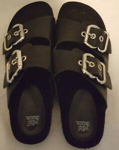 Wild-Fable-Women-039-s-Buckle-Strap-Sandals-Black-Size-7-5-Wide