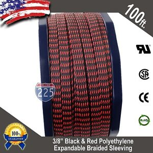 "100 FT 3/8"" Black Red Expandable Wire Sleeving Sheathing Braided Loom Tubing US"