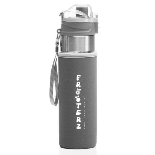 schwarz grau pink weiss Trinkflasche mit Früchtebehälter 700ml /& Thermohülle