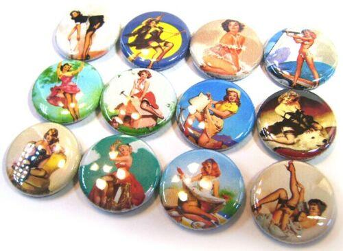 "12 Vintage PinUp Girls ELVGREN Buttons 1/""Badges Pinbacks One inch Gil Pin Ups"