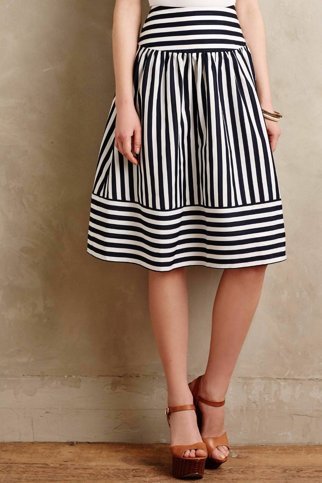 New Anthropologie High Seas Skirt by Maeve Sz Small Navy bluee White Stripes NWOT