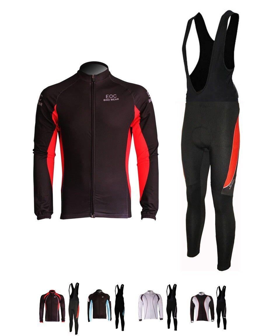 Fleece Thermal Cycling Long Sleeve JerseyBib Pants Bike Bicycle Kits 3 Coloree