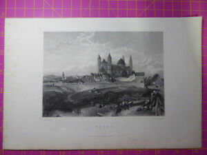 Antique-engraving-VIEW-of-WORMS-CATHEDRAL-GERMANY-St-Peters-Veduta-art-etching