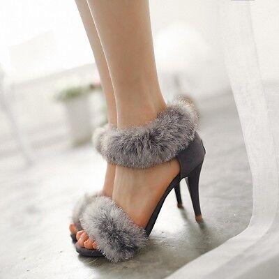 Womens Sexy Stilettos Open Toe High Heel Fur Decor Pumps Sandals Shoes Plus Size