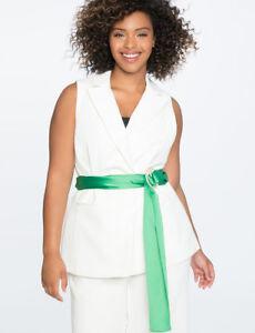 Eloquii-Sleeveless-Jacket-Vest-Sz-16-White-Green-Tie-Belt-Plus-Slimming-Women-039-s