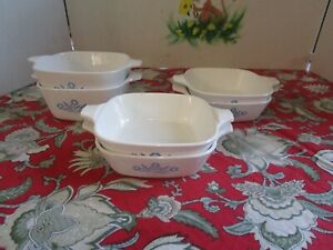 Set-Of-6-Vintage-CorningWare-Blue-Cornflower-P-41-B-P-43-B-Petite-Pans-No-Lids