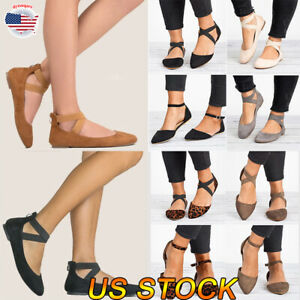 Women-Ballet-Sandals-Shoes-Slip-On-Dance-Shoes-Ankle-Strap-Flat-Casual-Loafers