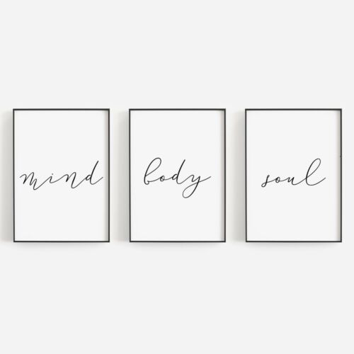 Set of 3 Mind Body Soul Minimal Black White Bedroom Home Poster Print Wall Art