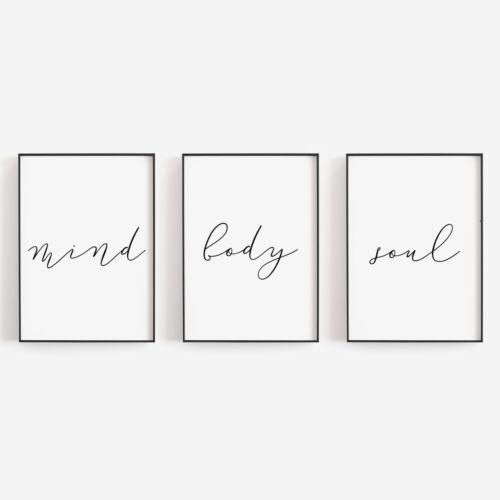 Set of 3 Mind Body Soul Minimal Black White Bedroom Home Poster Print Wall Art