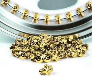 100 x 24k Gold Plastic Wheel Rivets Nuts Rim Lip Replacement Alloys Studs XXR