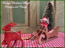 Santa's Wood Sleigh / Child & Antique Bottlebrush Tree Vtg Red Flocked Reindeer
