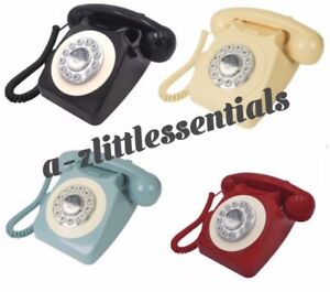 Retro Vintage Telephone Red Classic Desk Phone Handset Rotary Christmas Gift UK