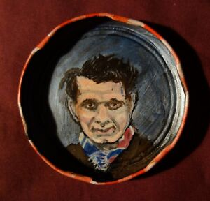 JOHN-FANTE-Jam-Jar-Lid-Portrait-Literary-Outsider-Folk-Art-by-PETER-ORR
