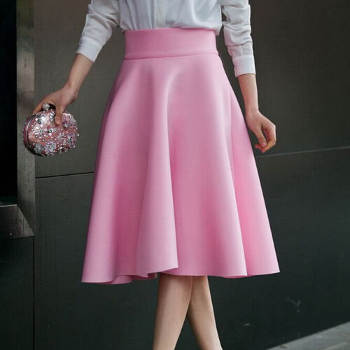 High Waist Pleat Elegant Skirt Green Black White Knee-Length Flared Skirts TP