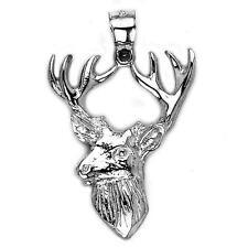 New .925 Sterling Silver Deer Head Elk Buck Reindeer Pendant