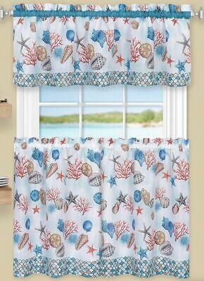 "58/""x36/"" COASTAL SEALIFE 3 Pc Kitchen Curtains Set,Tiers /& Swag Achim 58/""x14/"""