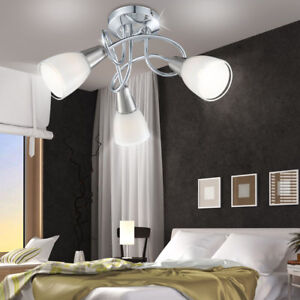 Luxus-Decken-Lampe-Strahler-Leuchte-Beleuchtung-Kueche-Chrom-Glas-Schlaf-Zimmer