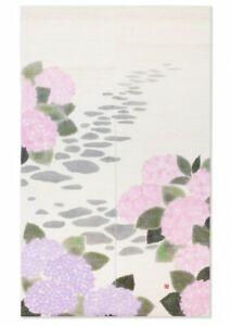 Kyoto-Noren-Japones-Puerta-Cortina-Hortensia-Flor-Artesania-Hecho-en-Japon