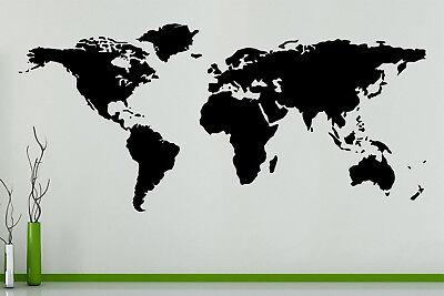 Carte Du Monde Pays Continent Globe Art Mural Autocollant Sticker Image Affiche