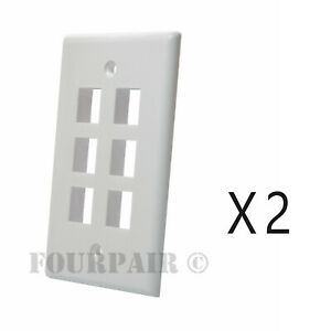25 Pack Lot Keystone 2 Hole Port Jack Wall Face Plate Audio CAT5e CAT6 White