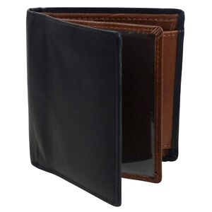 Mens-Compact-Black-Brown-Wallet-with-Quality-Leather-Bi-Fold-by-Oakridge