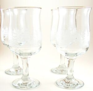 Etched Pedestal Clear Wine Water Glasses Wintertime Scene Lot of 4 Gold Rims B1