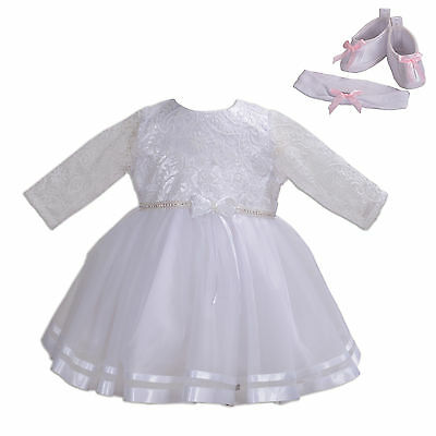 New Girls Long Sleeves White Christening Party Dress 0 3 6 12 18 24 Months