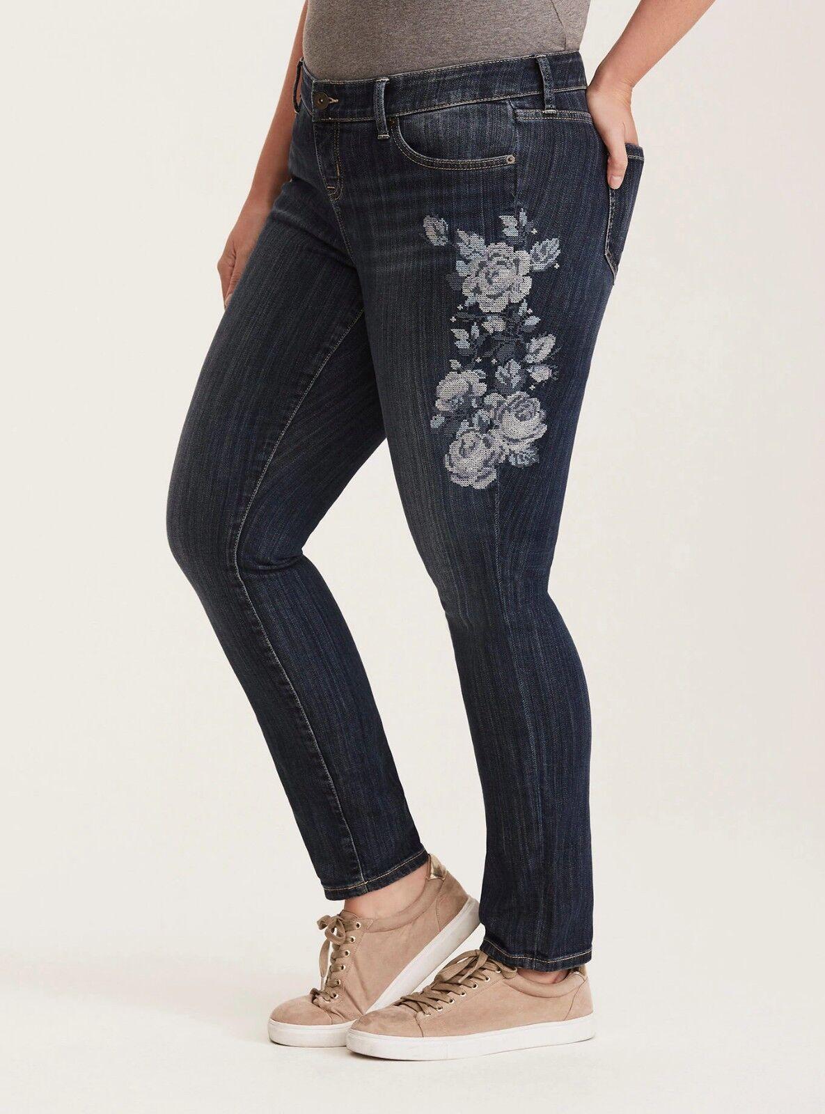 Torrid Floral Embroidered Skinny Stretch Jeans Dark Wash Sz 12