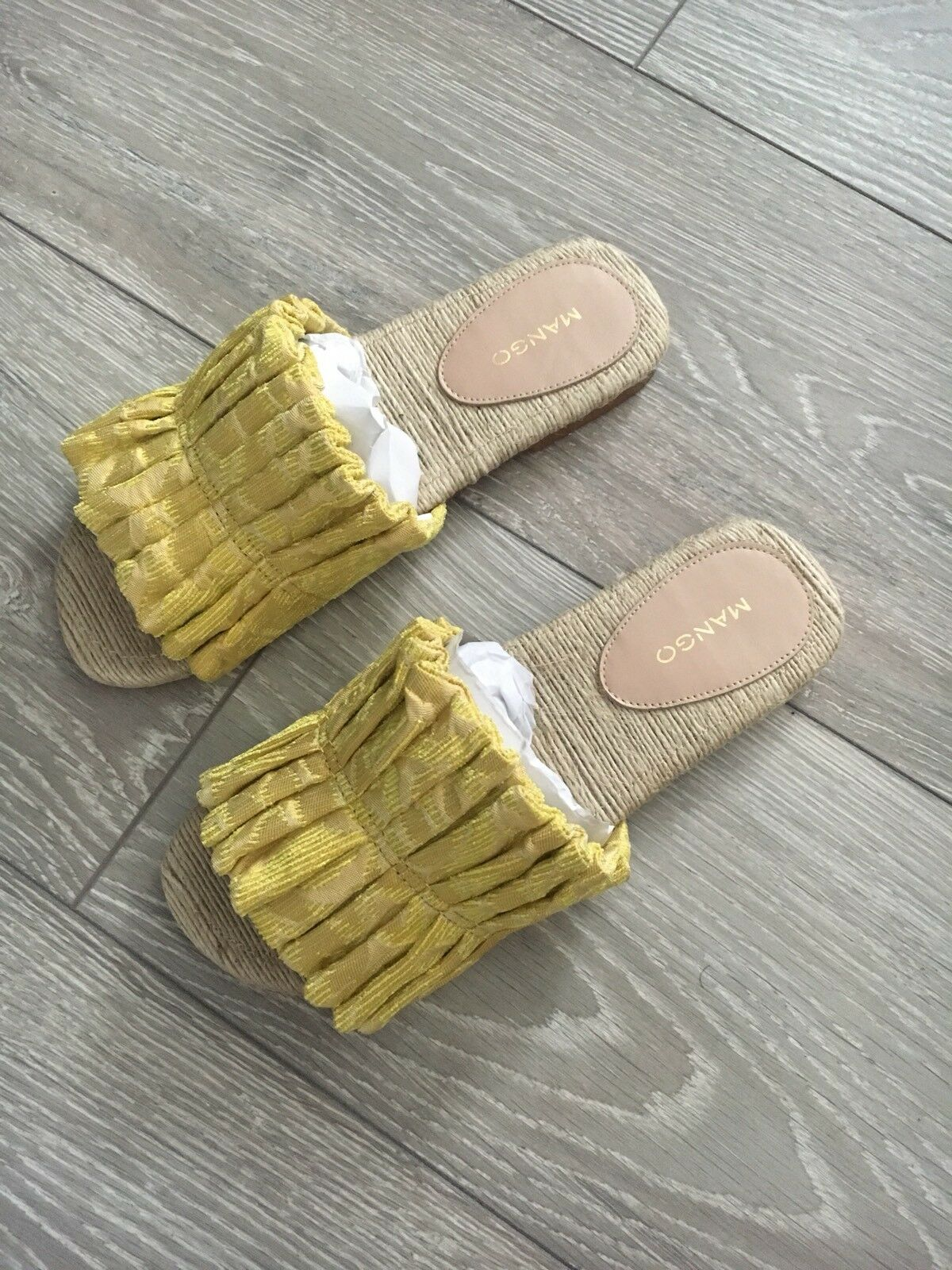 Mango Yellow Flat Sandals Mules Sliders Slides Size UK 4