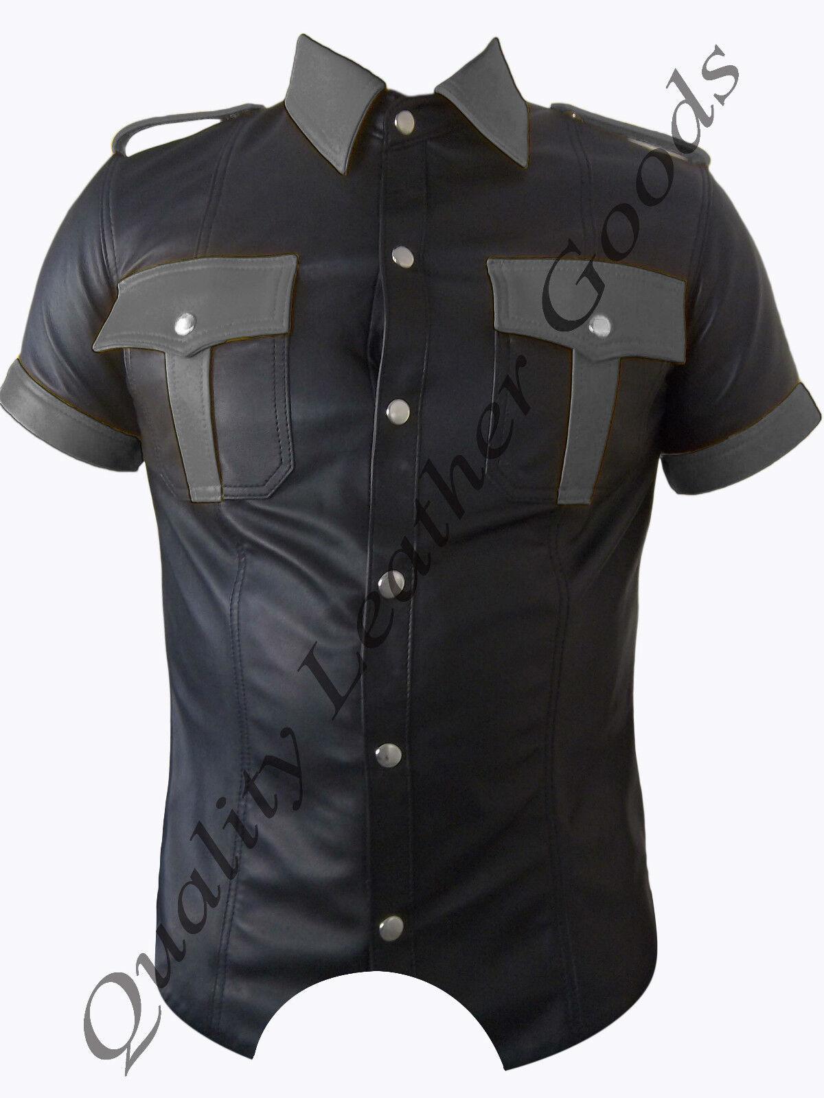 Camicia in Pelle Pelle Pelle Premium Nappa coloreate a contrasto uniforme Costume Fantasia BLUF Gay 836b08