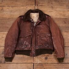 "Mens Vintage Schott NYC A2 Shearling Flight Jacket Fur Lined Brown 44"" L R5449"