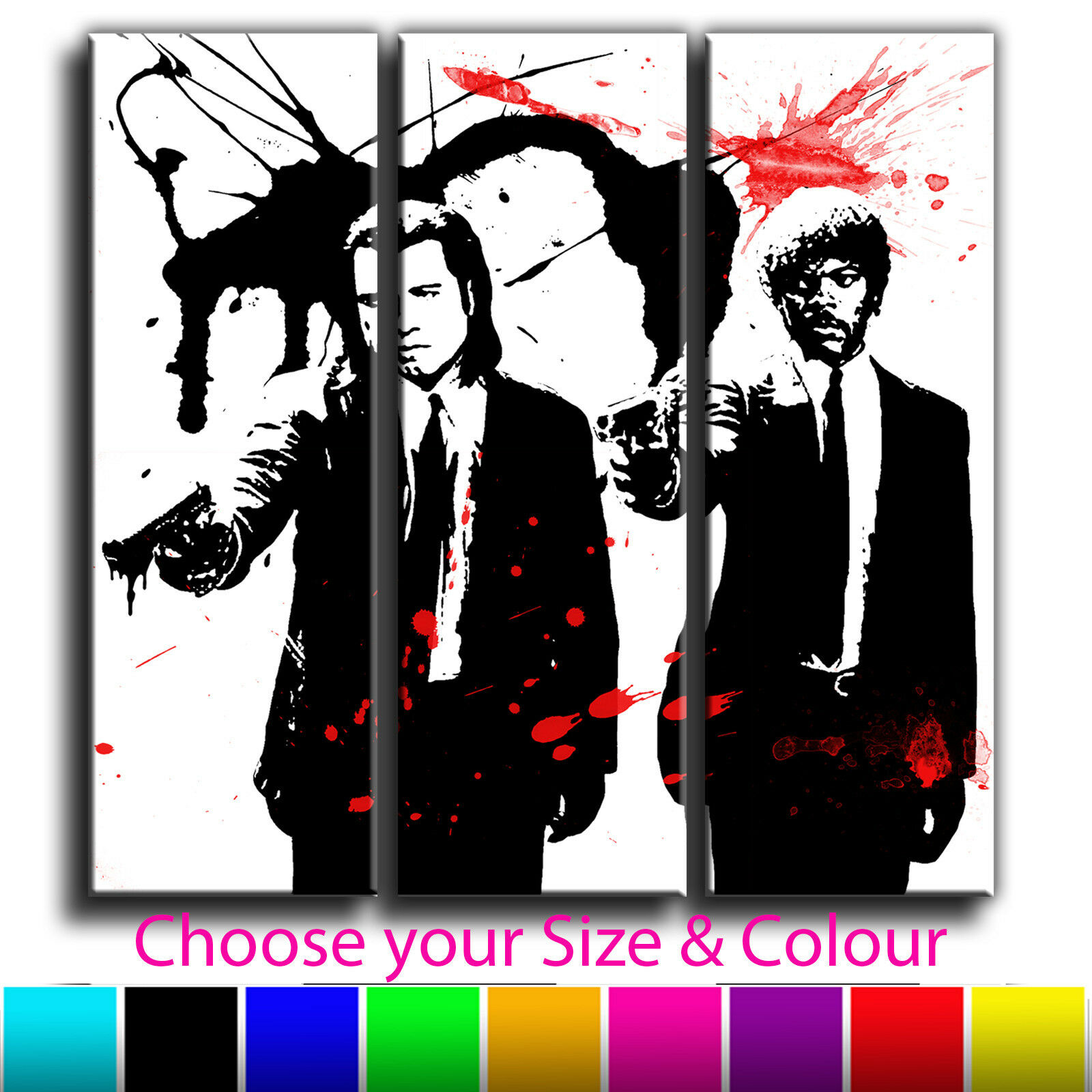Pulp Fiction Canvas Abstract Iconic Art Print Treble Box Framed Picture